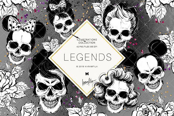 Hollywood Skulls Doodle Clipart