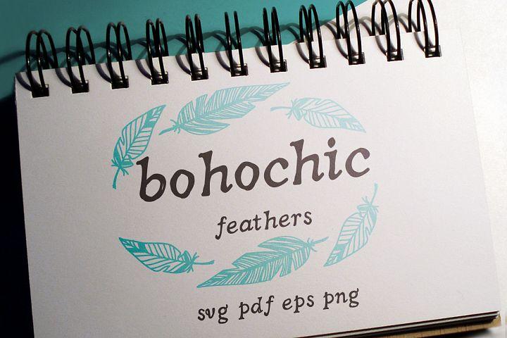 100 Boho-Chic Feathers Vectors Mega Pack
