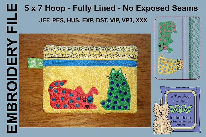 ITH Funky Cat & Dog Zipper Bag - Fully Lined, 5X7 HOOP