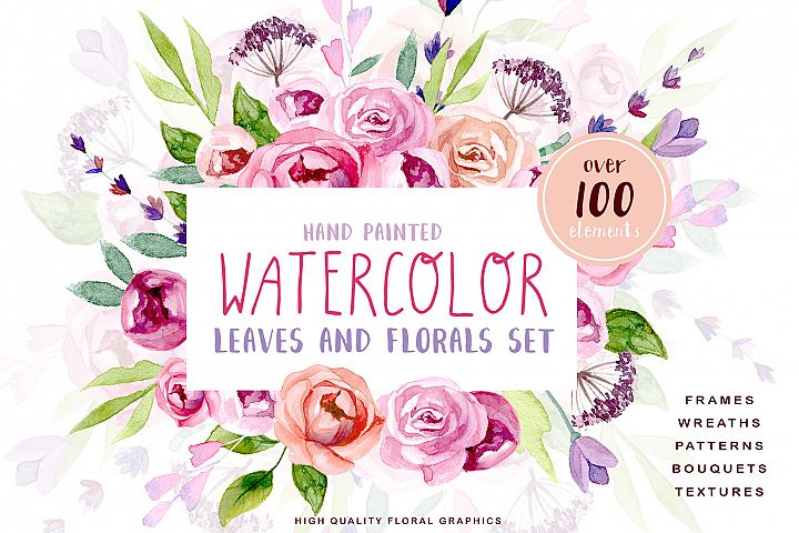 Watercolor Leaves and Floral Kit
