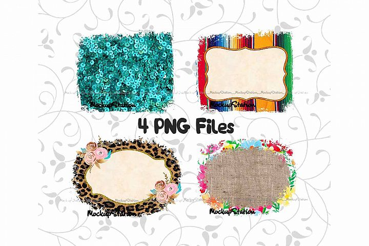 Sublimation Background Designs PNG Bundle, Frame Clip Art