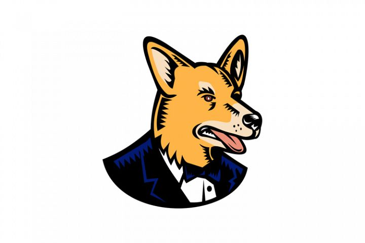 Pembroke Welsh Corgi Wearing Tuxedo Woodcut Color