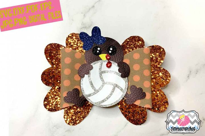 Thanksgiving Turkey Volleyball Hair Bow Template, Cheer Bow
