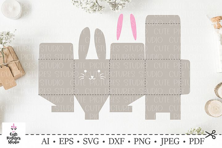 Easter bunny box for egg and sweets. Happy Easter SVG.