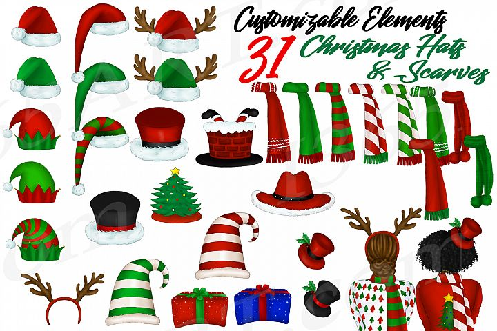 Custom Clipart Customizable Christmas Hats and Scarves