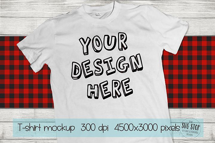 Tshirt Mockup Buffalo Plaid Wood Background