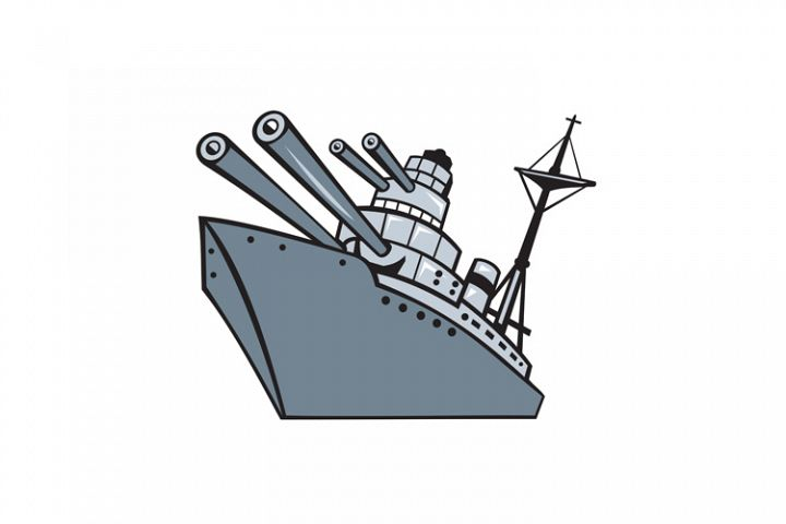 Cartoon Battleship With Big Guns