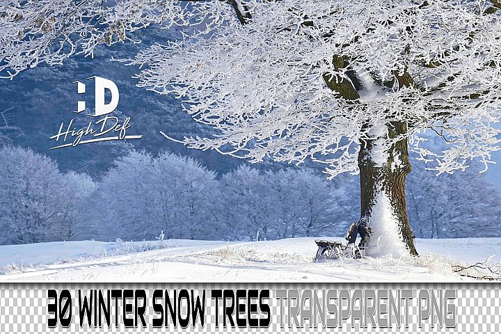 30 SNOW TREES PNG PHOTOSHOP OVERLAYS, BACKGROUNDS, BACKDROPS