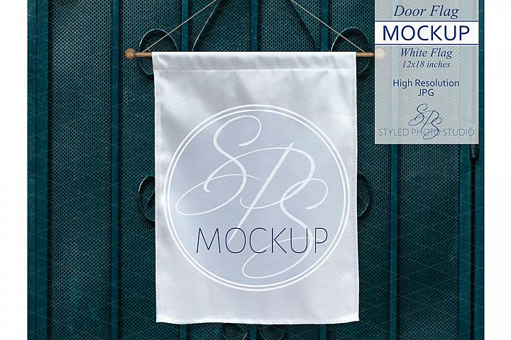 White Door Flag Mockup on Turquoise Screen Door