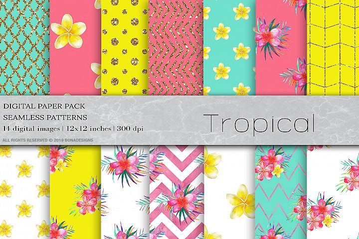 Watercolor Tropical Flowers Digital Papers, Tropical Pattern