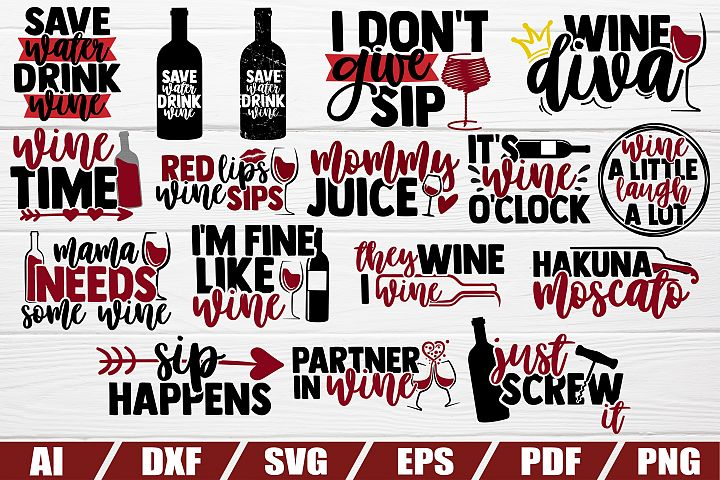 Wine bundle svg - 20 designs - cut file - dxf file - eps