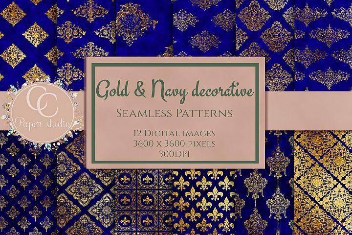 Gold & royal blue damask pattern digital paper pack