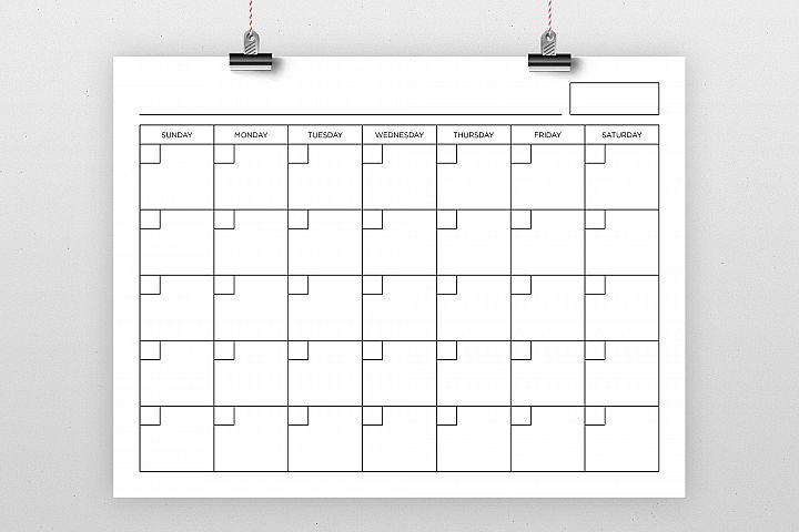 Blank Calendar Page Template Set