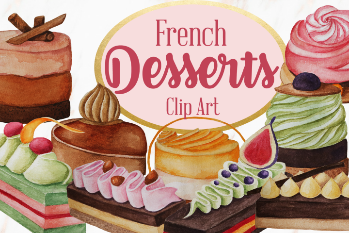 Watercolor French Pastries Dessert Clip Art