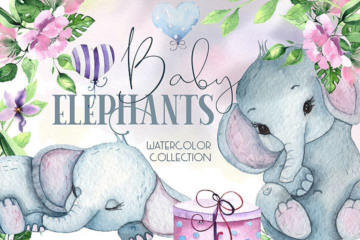 Cute Baby Elephants. Watercolor collection