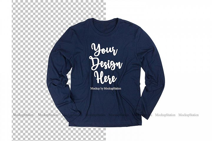 Navy Long Sleeve Shirt Mockup on White and Transparent PNG