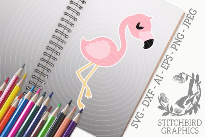 Pink Flamingo 1 SVG, Silhouette Studio, Cricut, Eps, Dxf, AI