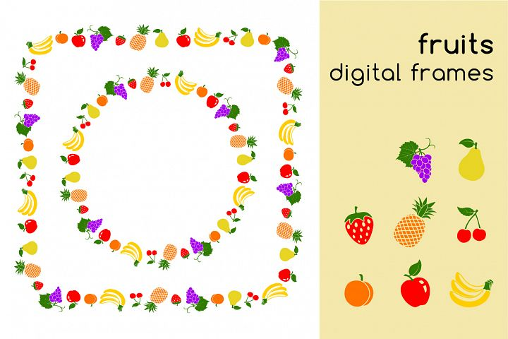 Fruits digital frames and fruit icons