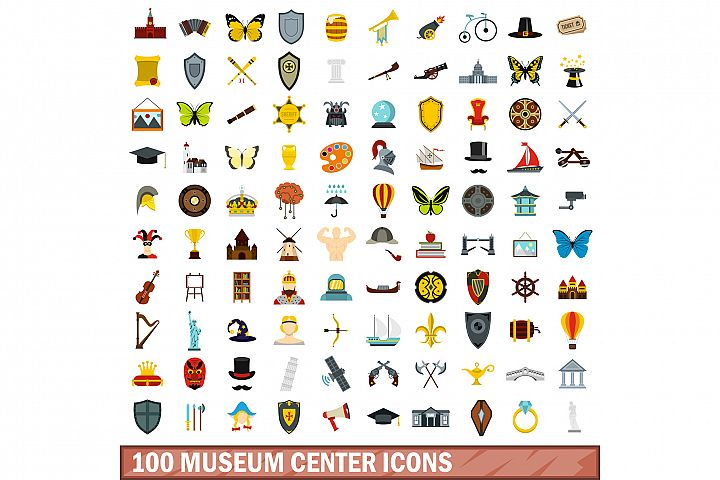 100 museum center icons set, flat style