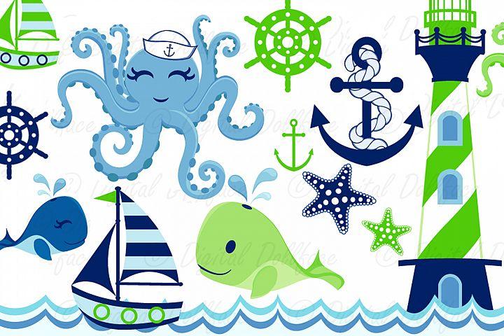 Nursery Nautical Clipart / Toddler Boy Sea Creatures