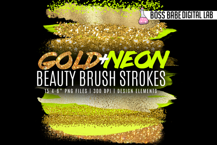 Neon and Gold Beauty Brush Strokes