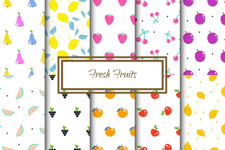 Fresh Fruits - Seamless Patterns