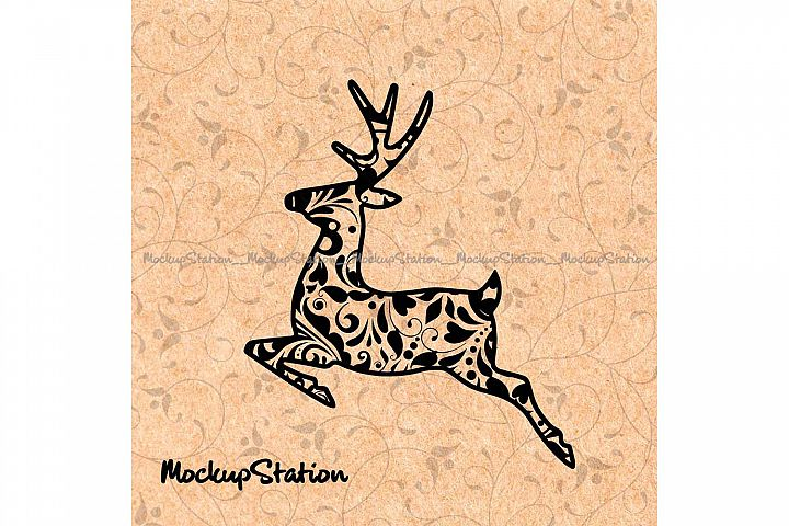 Reindeer Mandala SVG, Boho Winter Deer Home Decor Window Png