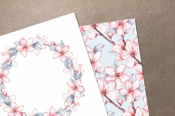 Japanese garden set 1. Watercolor