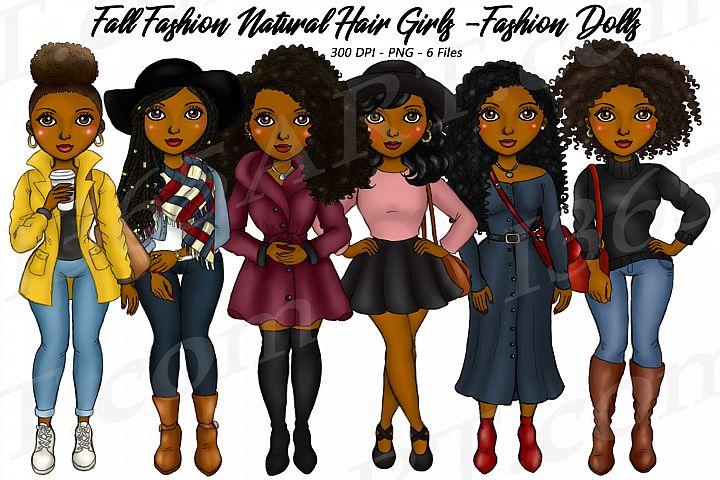 Fall Fashion Autumn Girls Natural Hair Planner Clipart Set