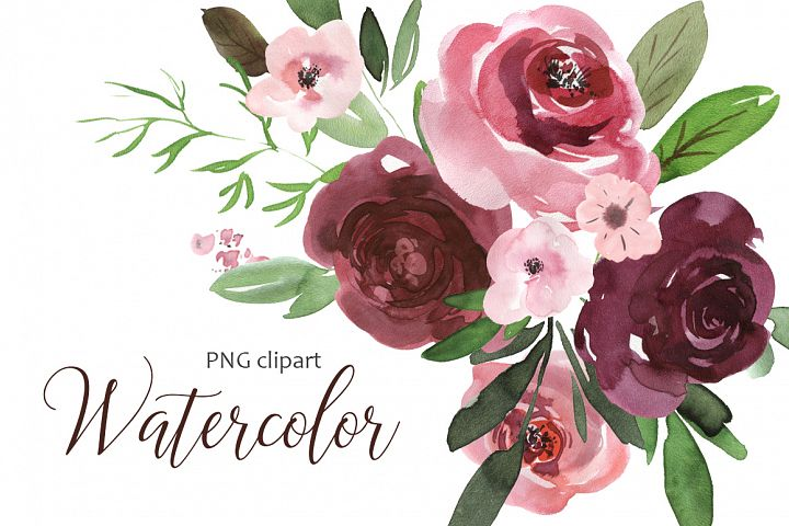 Watercolor pink & burgundy flowers clipart