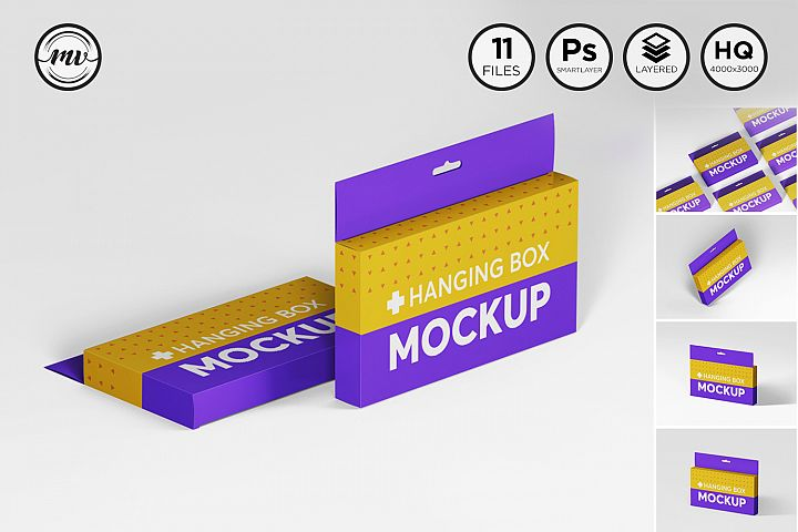 Wide Rectangle Box with Hanger Mockup