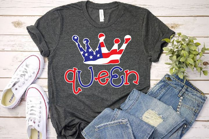 Queen Crown USA Flag SVG Royal 4th July Tiara 1265S