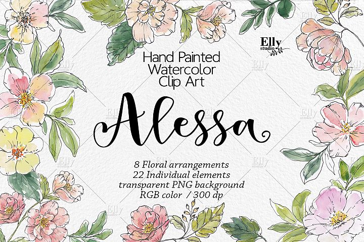 Watercolor Flowers Graphics - Alessa, Modern Flowers