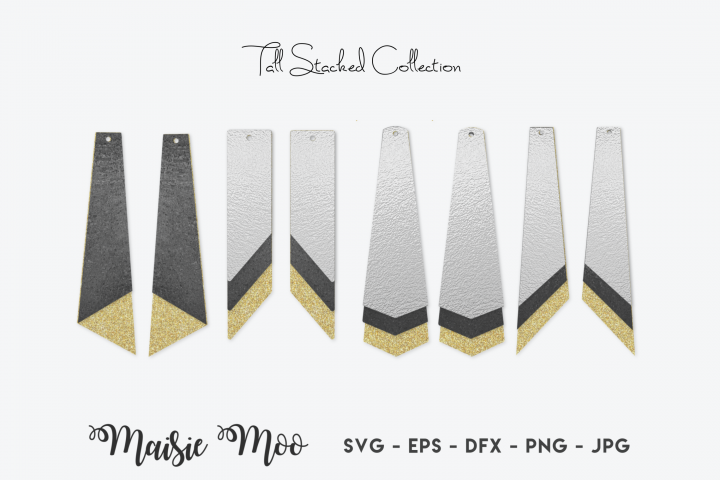 Long Earring SVG | Long Stacked Earring Templates