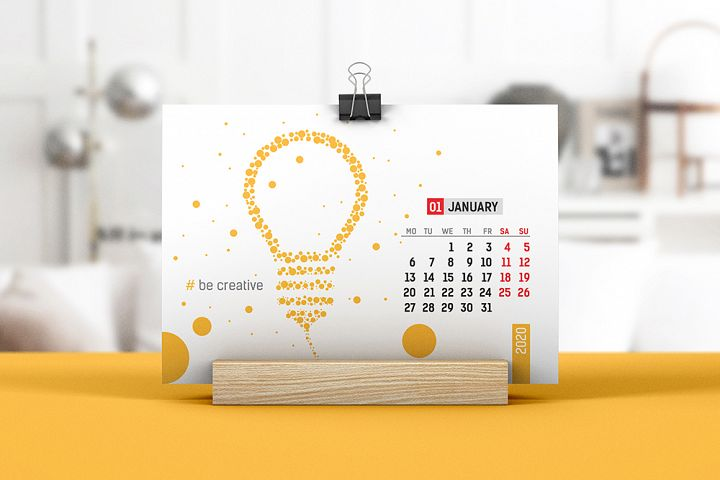 Desk Calendar With Wooden Stand Mockup 02