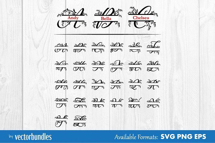 Monogram split letter floral svg