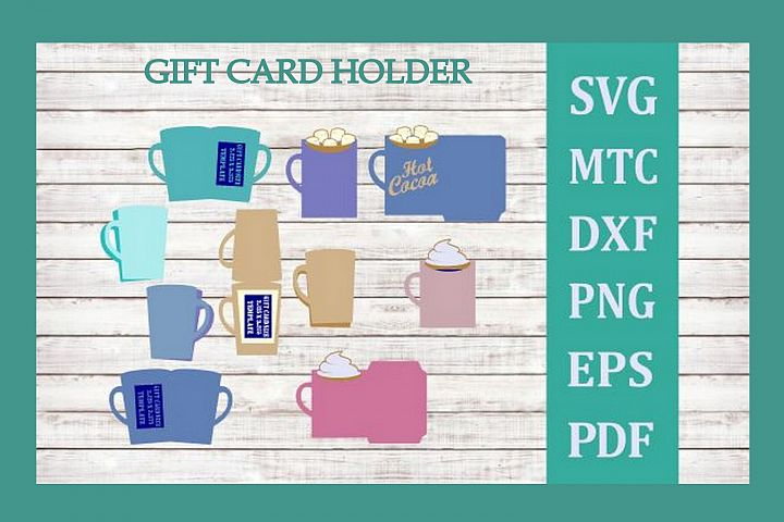 SVG Gift Card Holder Tea Cocoa Coffee Mug Bundle 5 Cut Files
