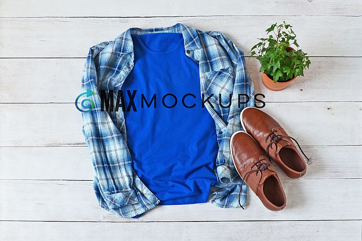 Yellow t-shirt Mockup Bella Canvas, men jeans shoes flatlay