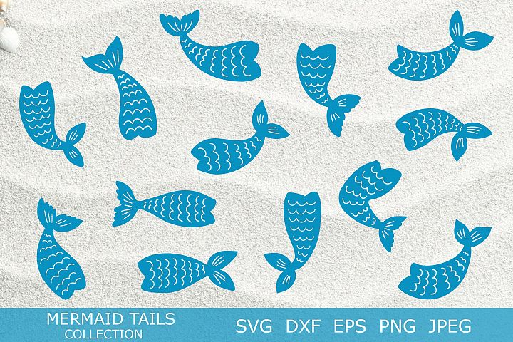 Mermaid tails silhouettes SVG DXF PNG EPS Cutting Files.
