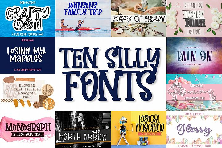 Ten Silly Fonts - A Craft Friendly Font Bundle!