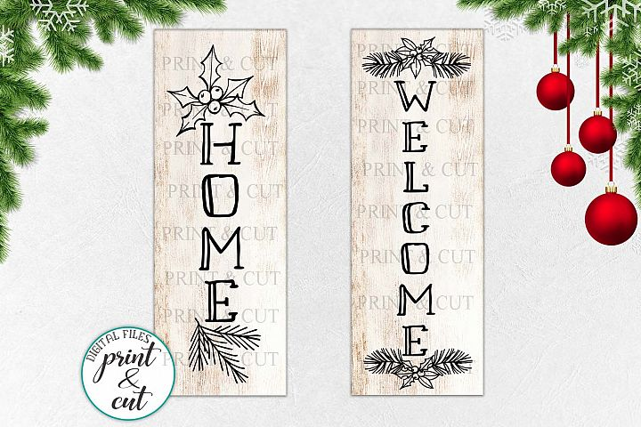 Christmas WELCOME HOME porch sign svg dxf file to cut
