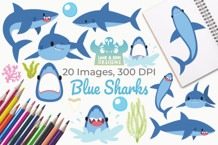 Blue Sharks Clipart, Instant Download Vector Art