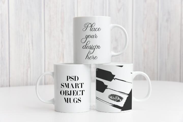 Three mockup mugs mockups white coffee 3 mug 11oz mock up