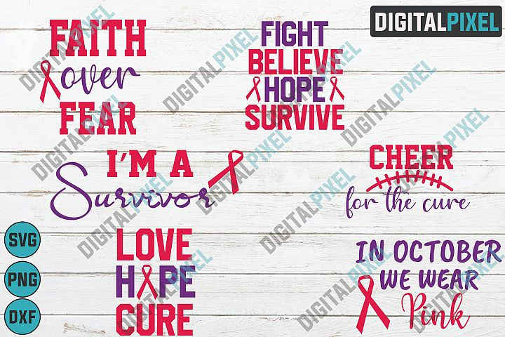 Breast Cancer Bundle SVG PNG DXF Circut Cut Silhouette 3