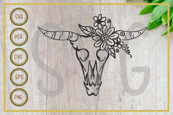 Skull svg, Cow head with floral, instant download, cut fil