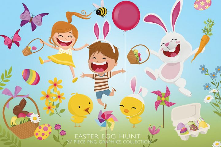 Easter Egg Hunt Clip Art Set