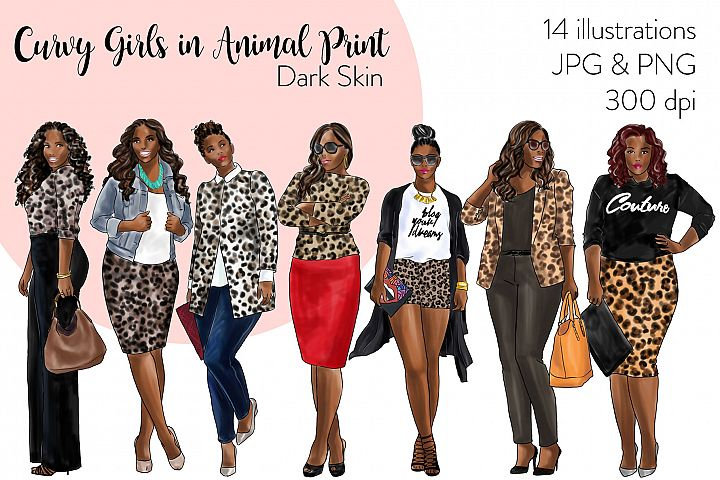 Fashion clipart - Curvy Girls in Animal Print - Dark Skin