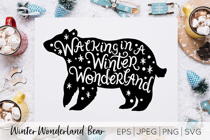 Winter Wonderland Bear Silhouette Vector art