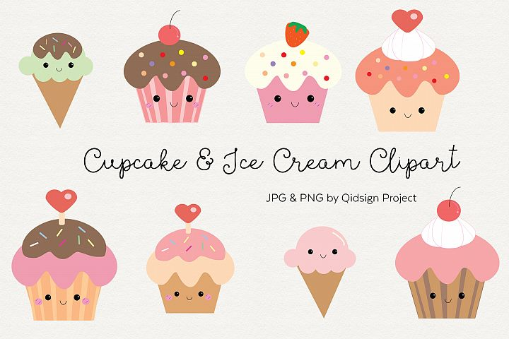Cute cupcake and ice cream clipart .PNG .JPG