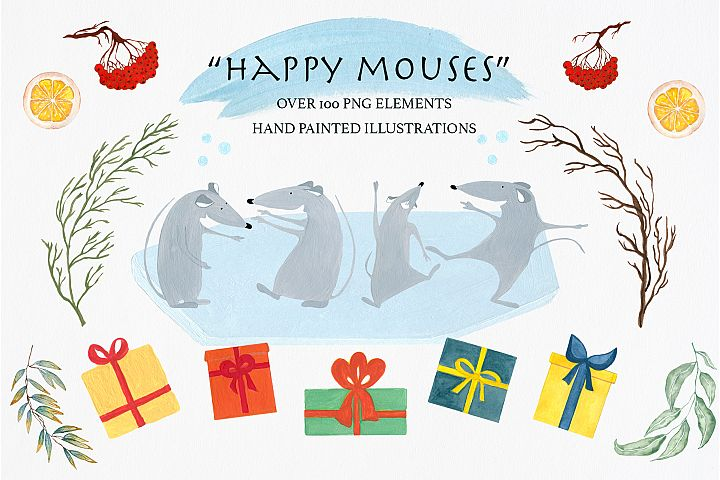 Happy Mouses, png illustrations, winter gifts, winter rat